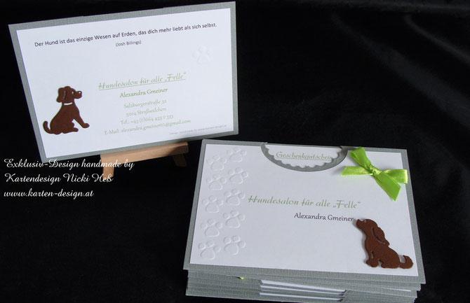 Gutscheinkarten, Hundesalon für alle Felle, Gmeiner, Straßwalchen, Hundesalon, Gutscheine, Kartendesign, Heß, individuell gefertigt