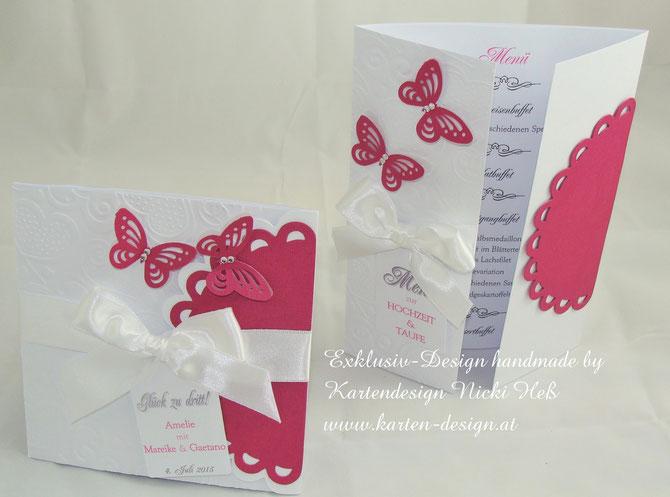 Einladungskarte zur Hochzeit und Taufe, Traufe, Glück zu dritt, Hochzeitseinladung und Taufeinladung, Kartendesign, Nicki Heß, Kartenatelier, Kartengalerie