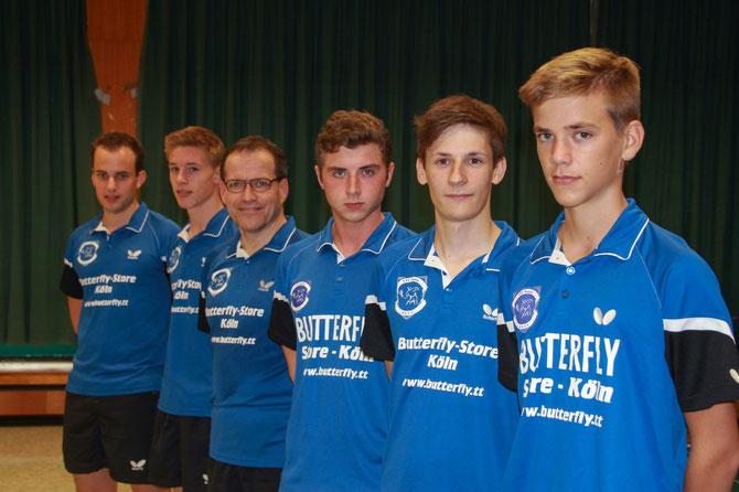 Die Meistermannschaft von links nach rechts: Nico Schmitt, Marc Weber, Thomas Bruckmann, Tim Weiß, Max Reinert, Aaron Emmerich