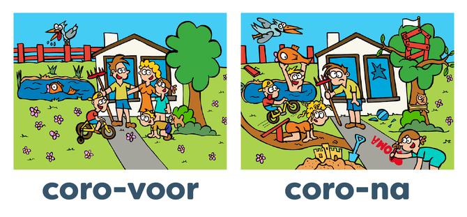 Dirk Van Bun Communicatie & Vormgeving - illustraties - tekeningen - cartoons - corona voor en na met kinderen