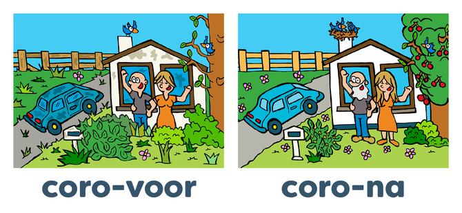 Dirk Van Bun Communicatie & Vormgeving - illustraties - tekeningen - cartoons - corona voor en na zonder kinderen