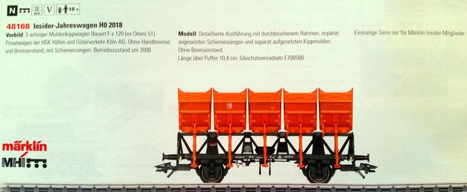 H0 Märklin 48168 Insider-Jahreswagen 2018