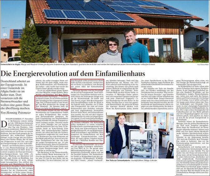 FAZ v. 18.11.2015 (Hinweis: Der Betreiber dieser Homepage nutzt auch bereits eine Batterie zur Speicherung der Sonnenenergie und erzielt in Niederwallmenach vergleichbare Autarkiewerte)