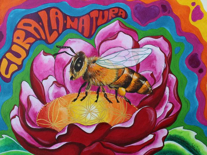 biene, bienensterben, blume des lebens, artenschutz, artenvielfalt, psychedelic, kunst berlin, künstlerin berlin, angelina petersen, angelina confused, biene, vom aussterben bedrohtin blume