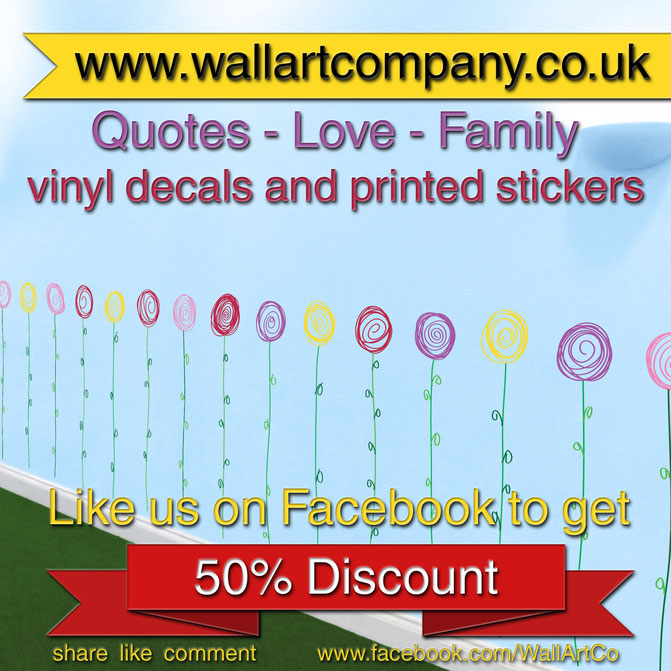 50% off voucher code for www.wallartcompany.co.uk Wall art, decals, stickers and lots of themed quotes to chose from!