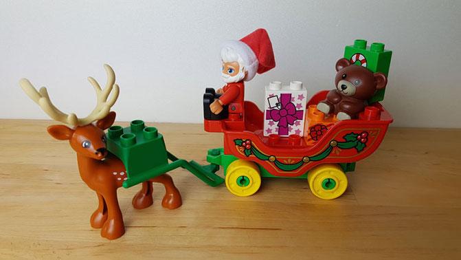 Duplo Test: Duplo Weihnachtsmann mit Rentierschlitten