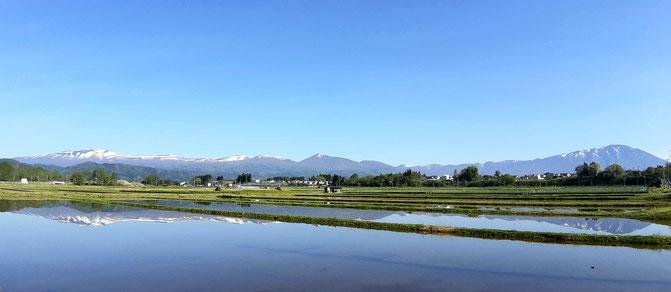 まだ水を入れたばかりの田のようでした。天気もよかったなあ。2021/5/15撮影