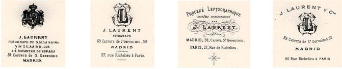 Distintos sellos empleados por J. Laurent y J. Laurent y Cia