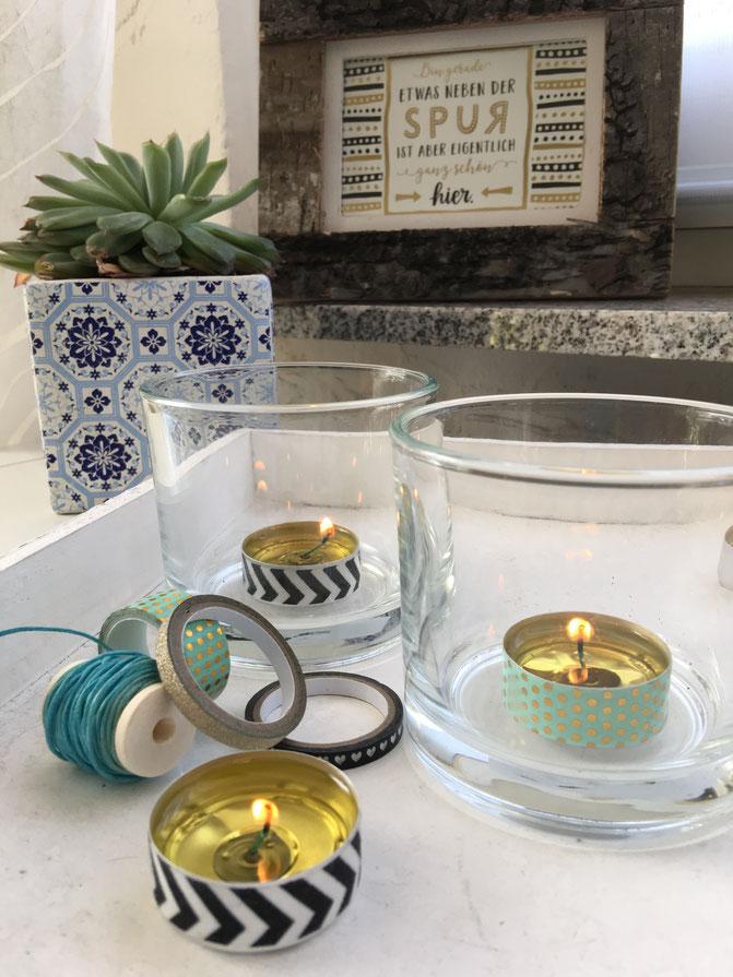 My GREEN Home Nachhaltig greenlifestyle Teelicht nachfüllbar öl washitape windlichter aluminium