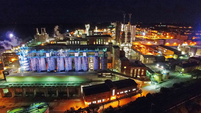 Foto: (Solvay Chemicals GmbH) Arial view of Bernburg Plant at night, Germany