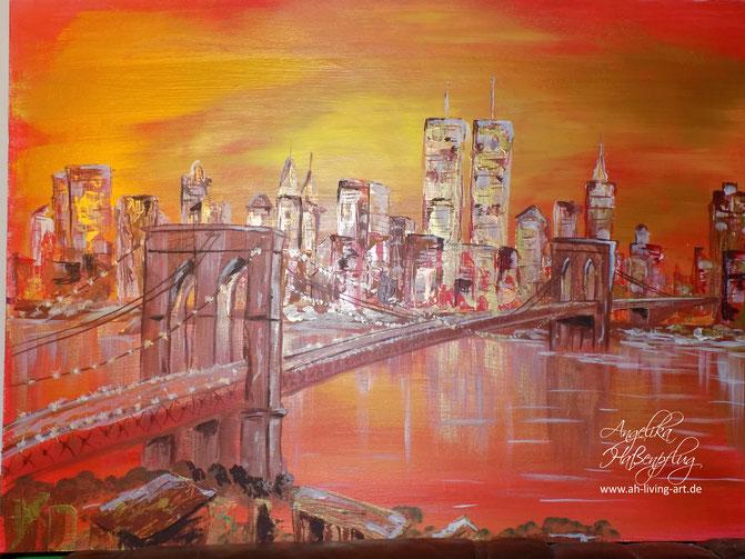 Skyline sunset abstrakt Acryl , Angelika Haßenpflug, Living Art, Auftragsarbeit, Malerin Künstlerin