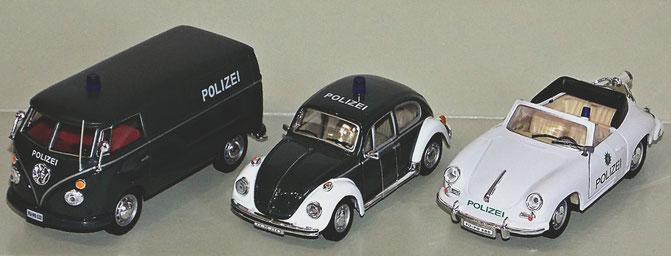 3er Set Schuco, Polizei Bulli T1, Käfer, Porsche
