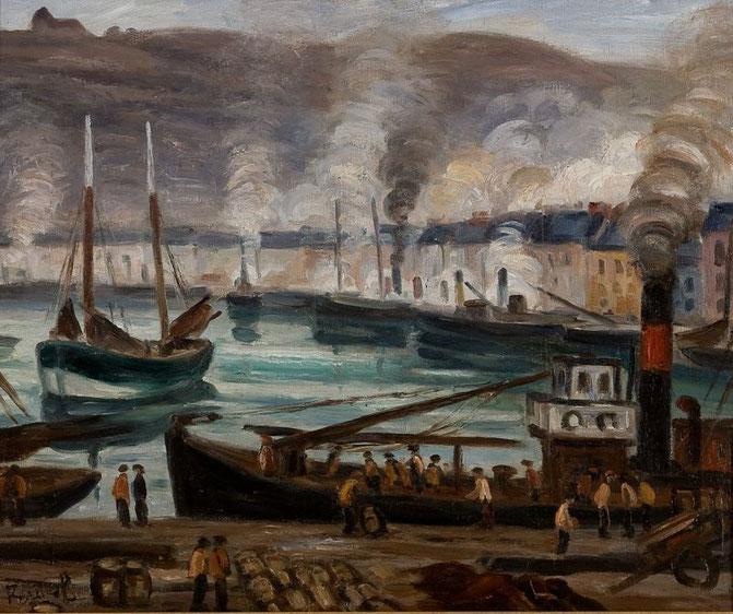 Le déchargement d'un drifter de l'armement Leporc, 1934