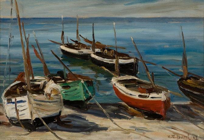 Marine à Yport, barques de pêche, 1947