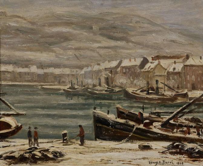 L'avant port de Fécamp sous la neige, 1938