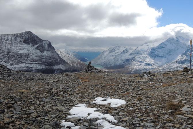 Blick zum Berninapass und Lago Bianco