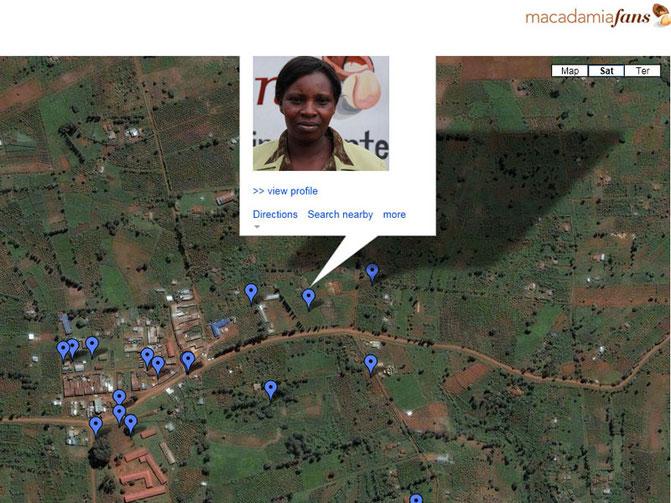 """Screenshot aus """"macadamiafans transparency"""": Zertifizierte Bauern nach Regionen"""