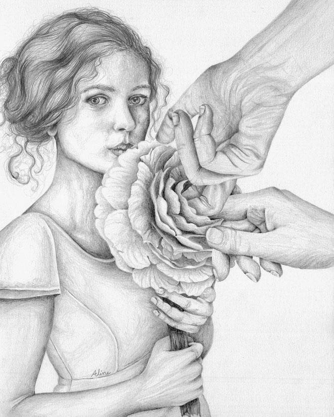 La Dame aux Camélias, crayons graphites, 30 x 24 cm , 2016