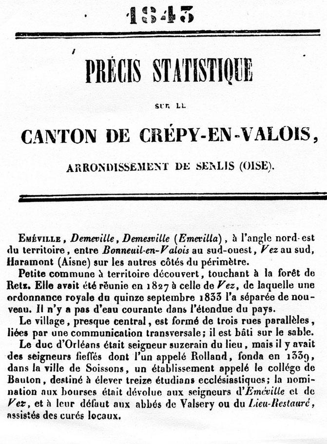 Extrait -  la commune décrite par Louis GRAVES en 1843
