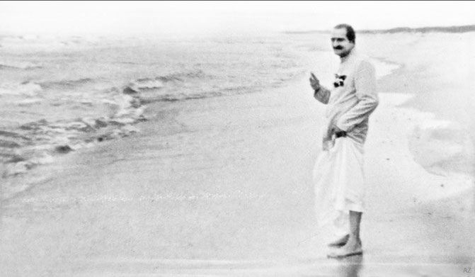 Meher Baba on the beach at Meher Center, 1956, with thanks to Steve and Duck Klein. Image was edited by Anthony Zois