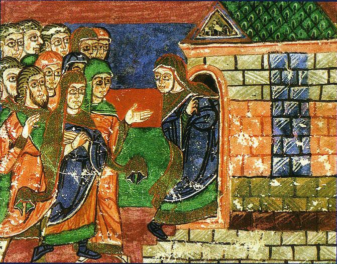 Radegunde zieht sich  unter Beteiligung des Volkes in ihr Kloster zurück. Leben der heiligen Radegunde. 11. Jh. Stadtbibliothek von Poitiers