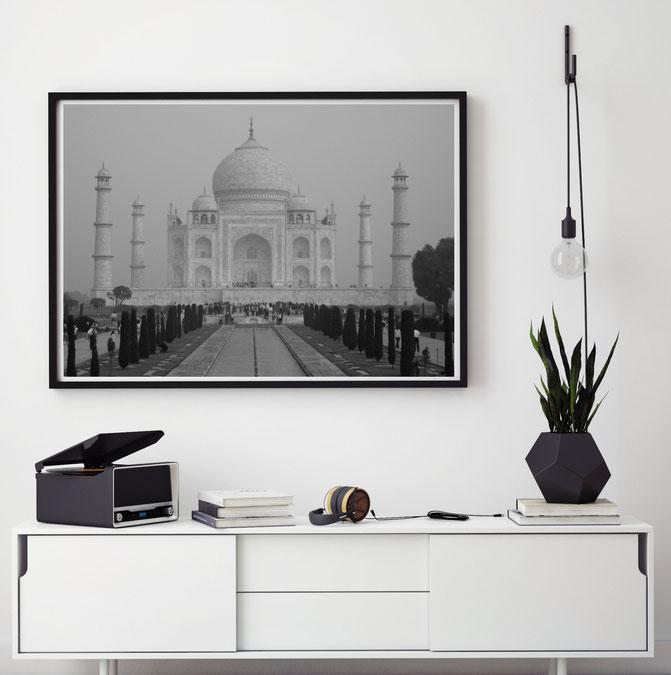 Schwarz-weiß Fotografien   Fotografie Poster   Fotomotiv Taj Mahal