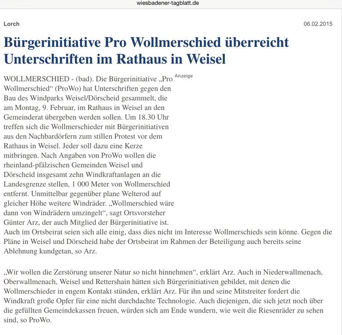 Wiesbadener Tagblatt vom 10.02.2015