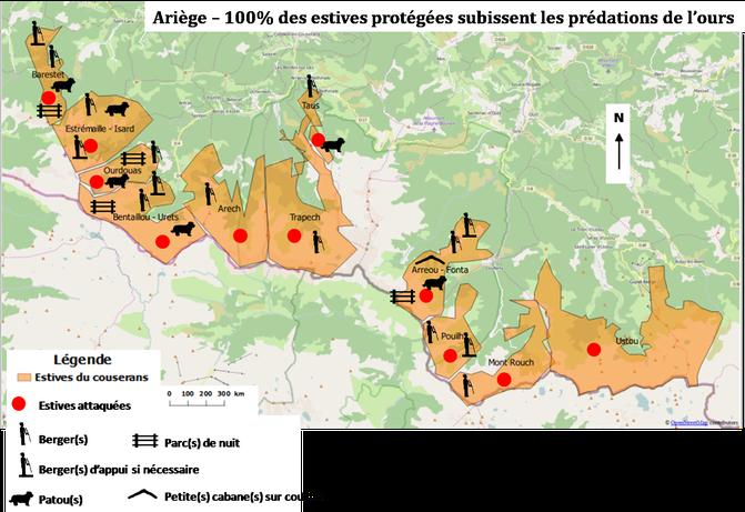 Carte : Les estives du Couserans prédatées par l'ours et leurs moyens de protections - août 2016 - réalisation ASPAP – données : OpenStreetMap, Géoportail, ASPAP