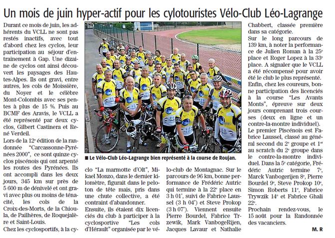 Article du journal Midi Libre du 3 juillet 2014