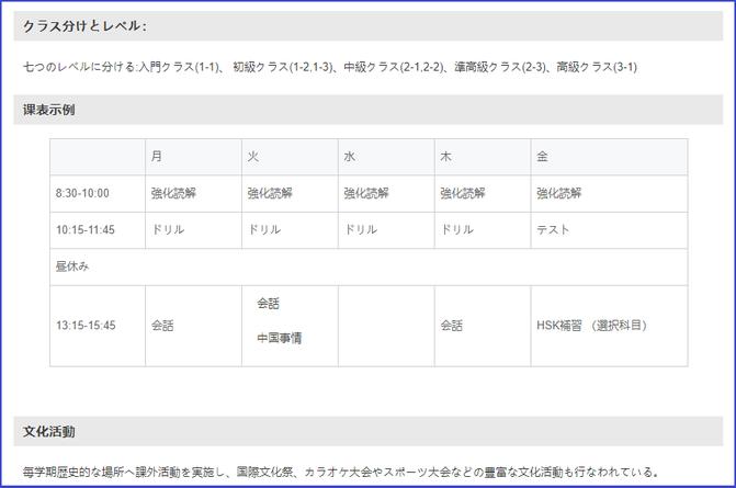 中国上海 華東師範大学 入学コースと学費
