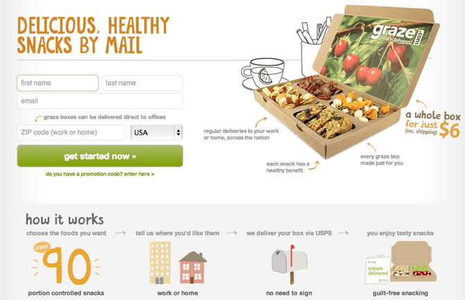Page de renvoi de Graze avec formulaire de contact et boîte en carton remplie de graines
