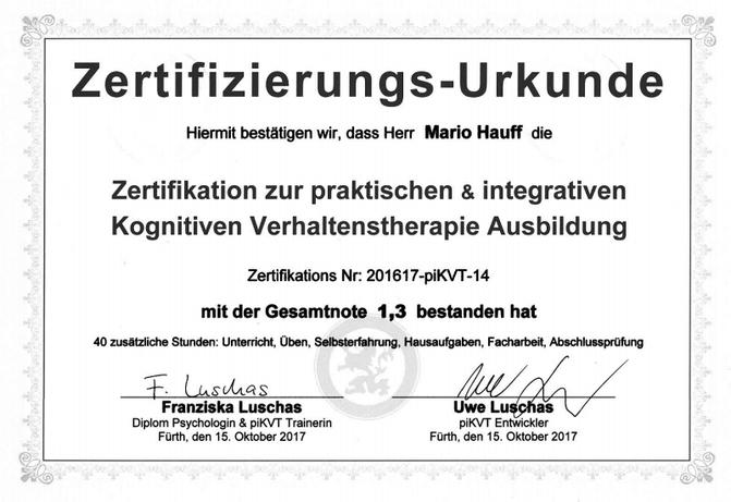 Zertifikat piKVT Ausbildung Luschad Fürth