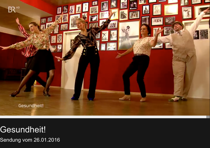 """Stepptanz mit Silvia Plankl im Münchner Vintage Dance Studio in der Sendung """"Gesundheit"""" im Bayerischen Fernsehen, vom 26. Januar 2016. Jetzt zu sehen in der BR Mediathek."""