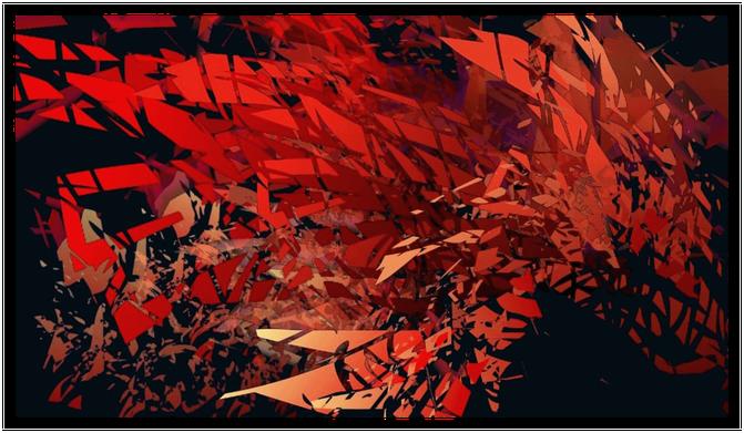 tons chauds, rouge, orange,noir,fragments,peinture abstraite,dégradés