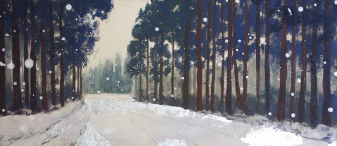 「雪街道」 日本画(銀箔・紙本) 130x300mm