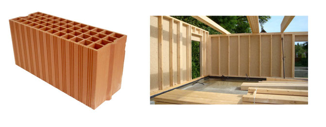Brique à coller ossature bois