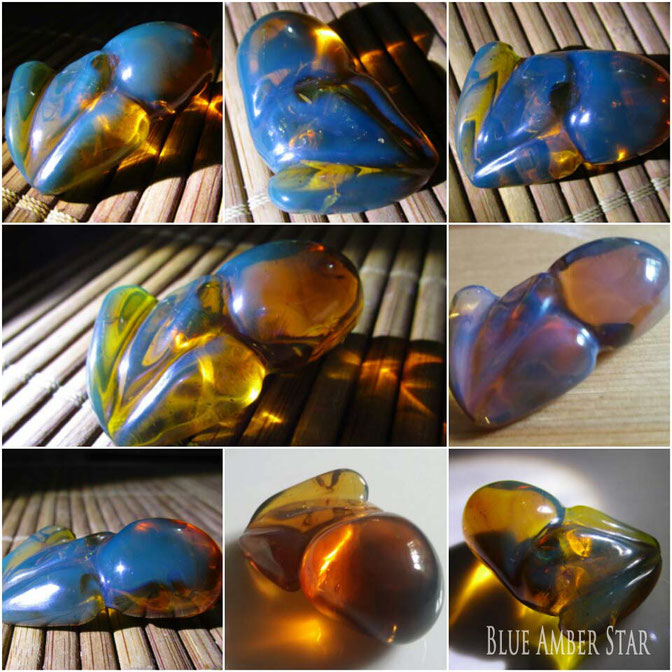 blue amber carvings