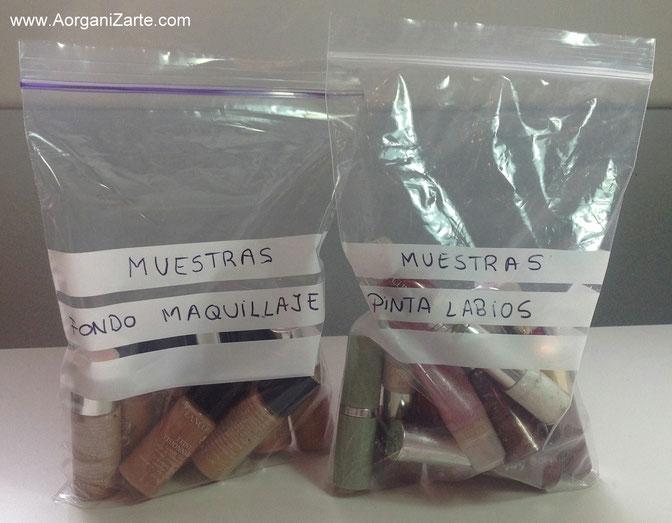 organiza las muestras de maquillaje por tipos - www.aorganizarte.com