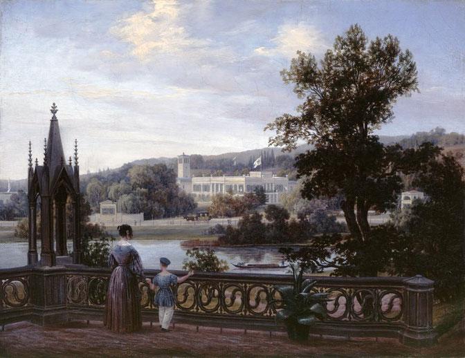 Carl Daniel Freidanck: Blick von Schloß Babelsber auf Schloß Glienicke, Öl auf Leinwand, 1838, SPSG