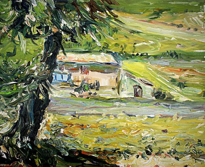 Landschaft bei Ferrasières   2008, Öl auf LW, 46 cm x 55 cm