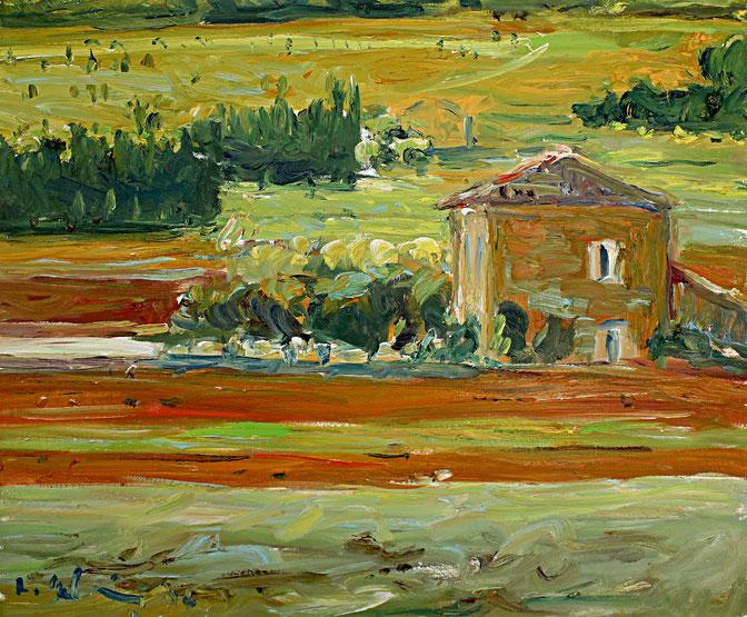 Gehöft bei Lumières   2006, Öl auf LW, 46 cm x 55 cm
