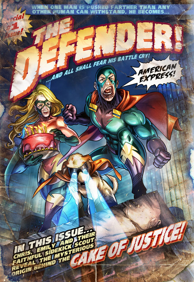 "The Defender custom comic cover was illustrated by Aaron Warner of Cartoon Studios who was hired by a visitor to CartoonistForHire.com to create a parody comic book cover featuring ""inside"" jokes based on the client's family members."