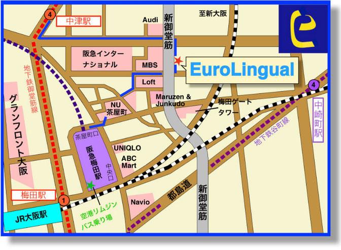 EuroLingual梅田校アクセス 地図