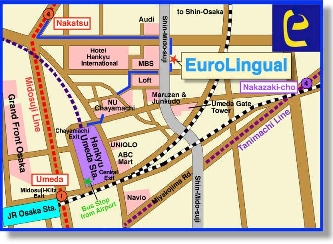 Access Map of EuroLingual-Umeda