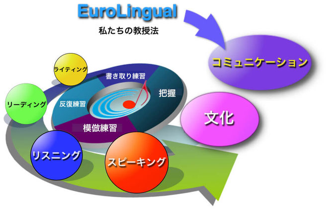 EuroLingual. 生徒の皆様には4つの基礎的な要素、リスニング・スピーキング・リーディング・ライティングについて、積極的に学んで頂きます。