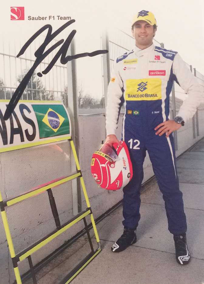 Felipe Nasr Brazil, Formula One, Driver for Sauber, 39 Races, Autograph by Mail