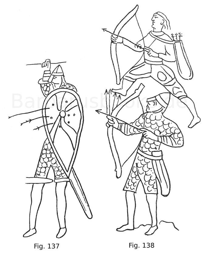Fig. 137. Normannischer Fußstreiter aus der Tapete von Bayeux. Ende des 11. Jahrhunderts.