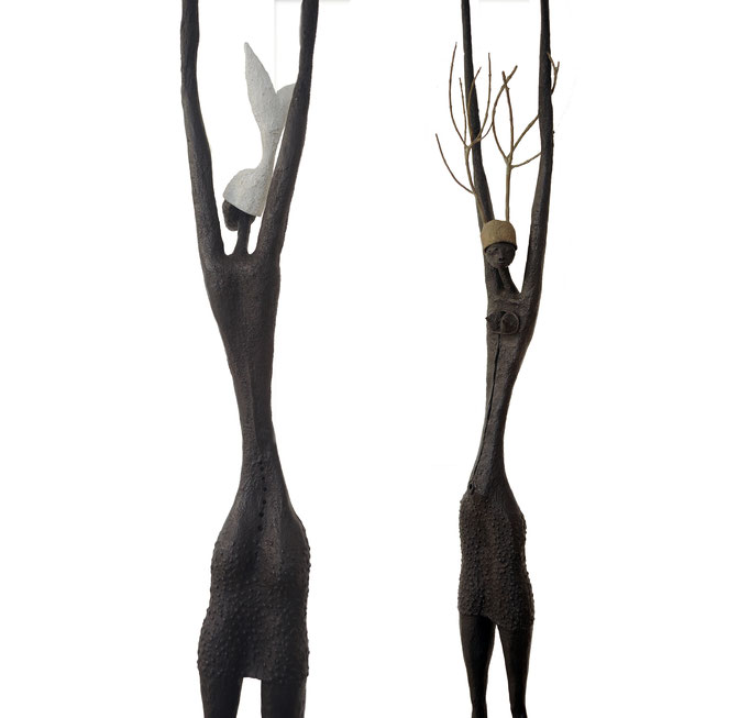 Stretch Up | Fish & Trees  series, interchangeable hats, 2015, bronze, black patina, 1/8, 228 x  30 x 27 cm