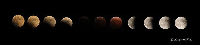 皆既月食(2014年10月8日 18時15分頃~21時40頃)