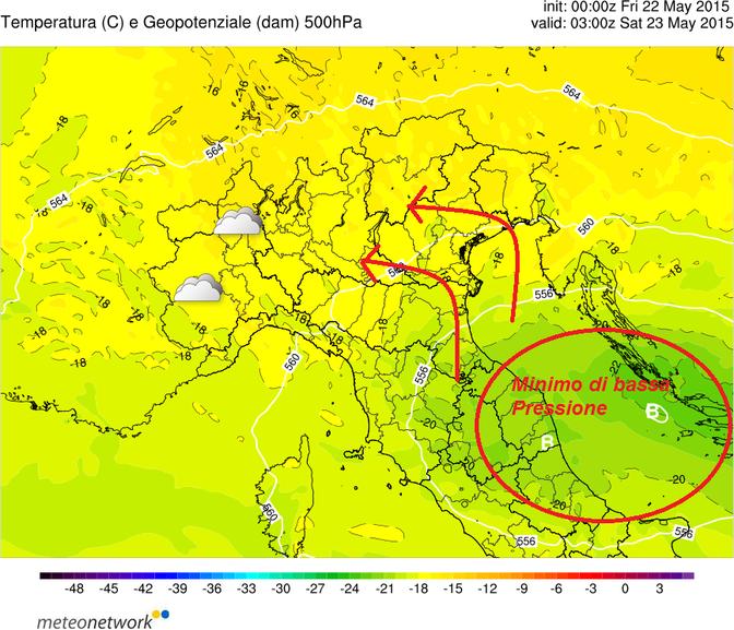 Modello fisico-matematico Meteonetwork riguardante la temperatura e i geopotenziali atmosferici sul Nord-Italia